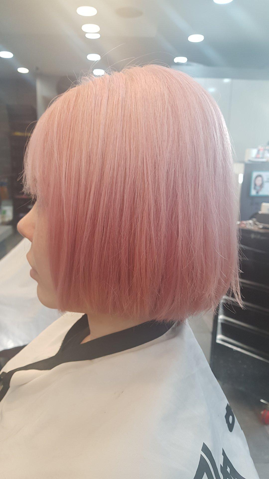 원랭스컷,핑크브라운,볼륨펌