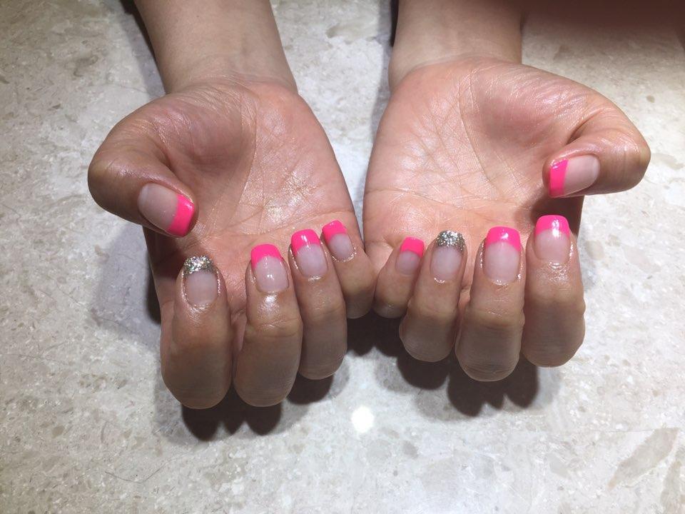 스퀘어,핑크,글리터,프렌치
