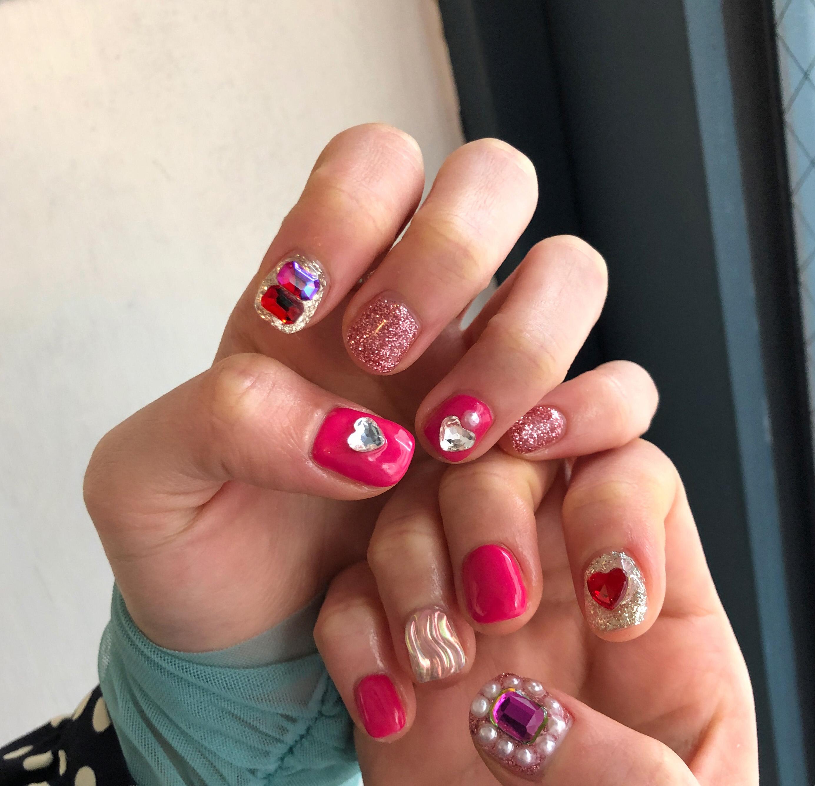 스퀘어,핑크,미러칩,진주