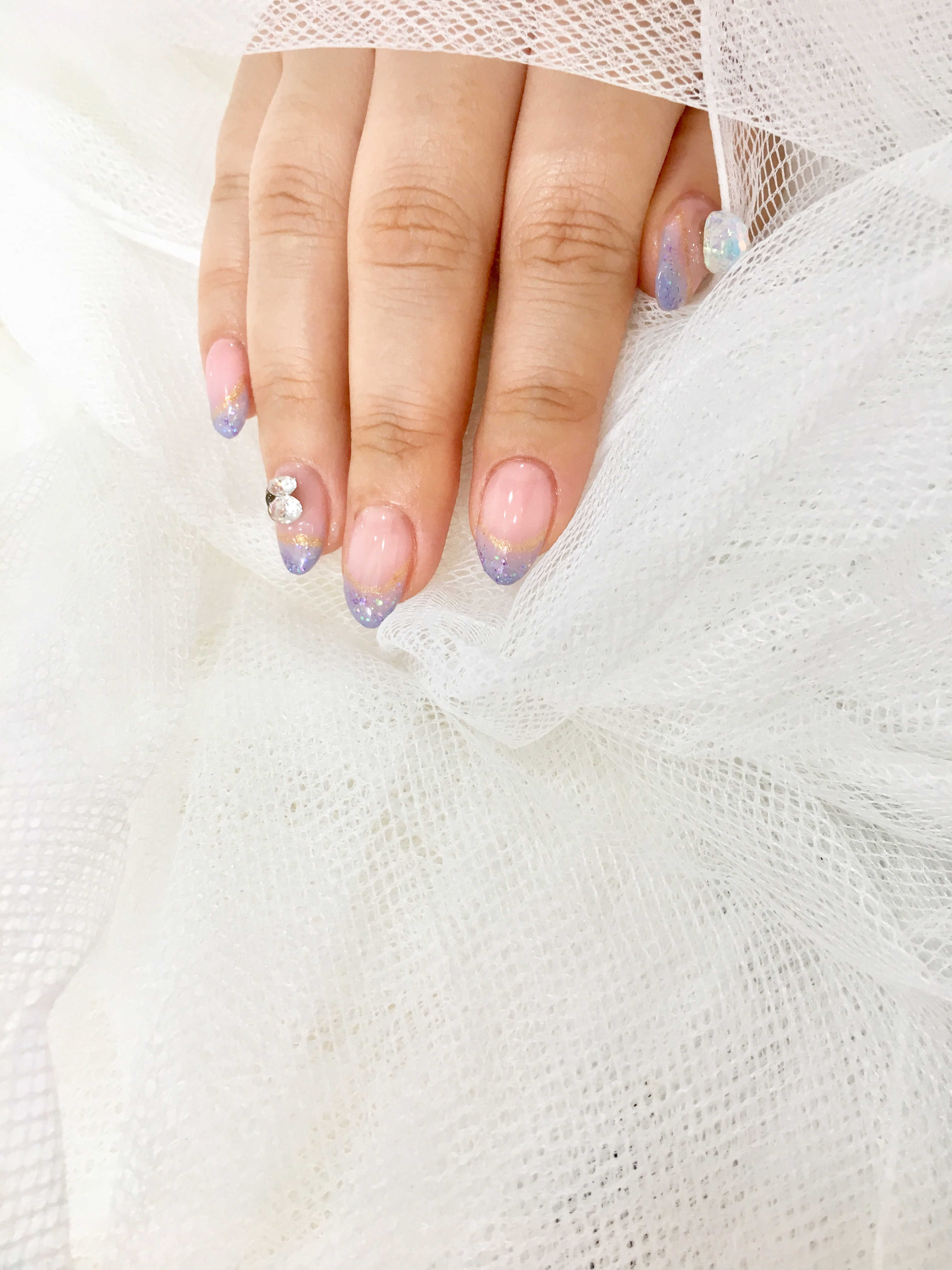 아몬드,핑크,프렌치,파츠
