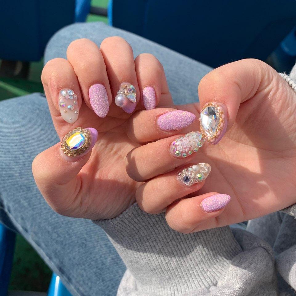 아몬드,핑크,퍼플,파츠,글리터