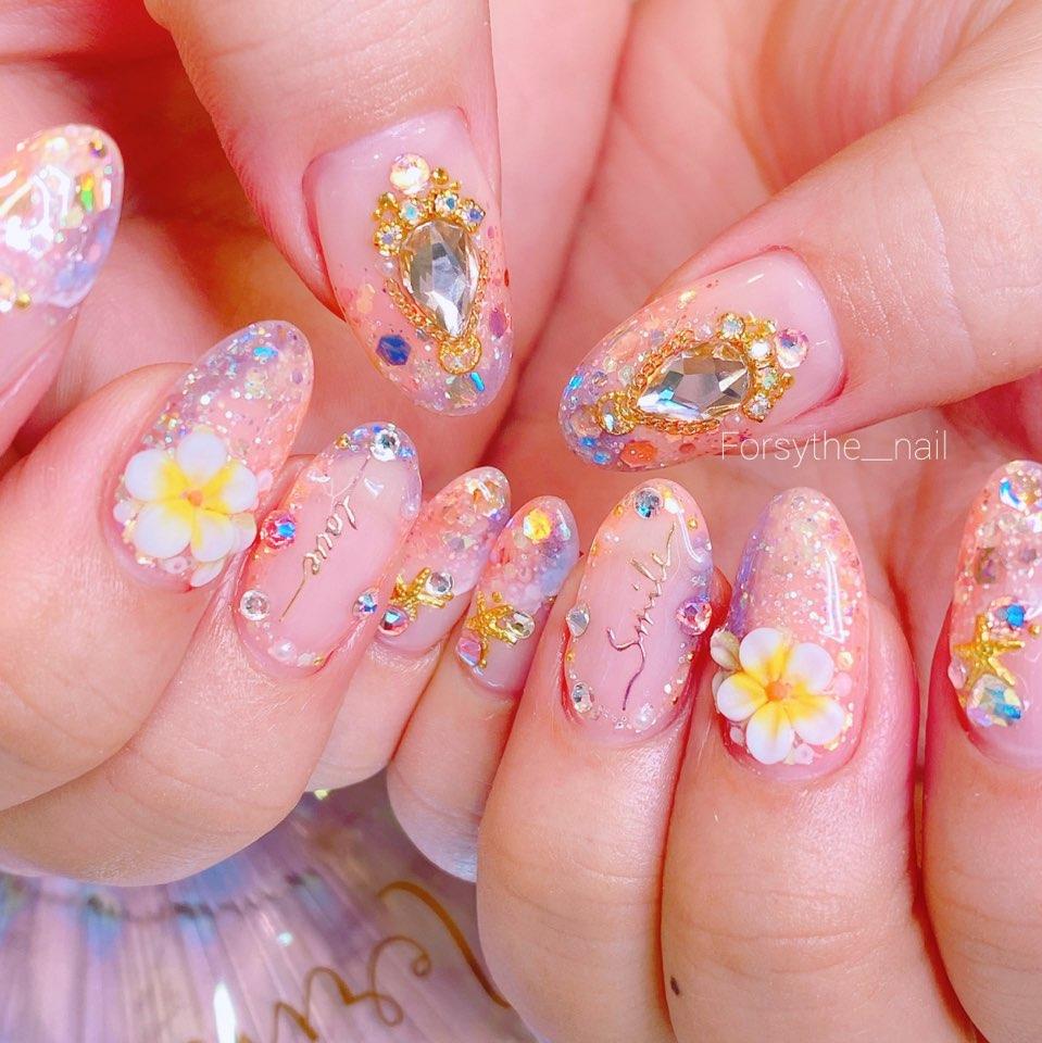 아몬드,퍼플,핑크,글리터,파츠
