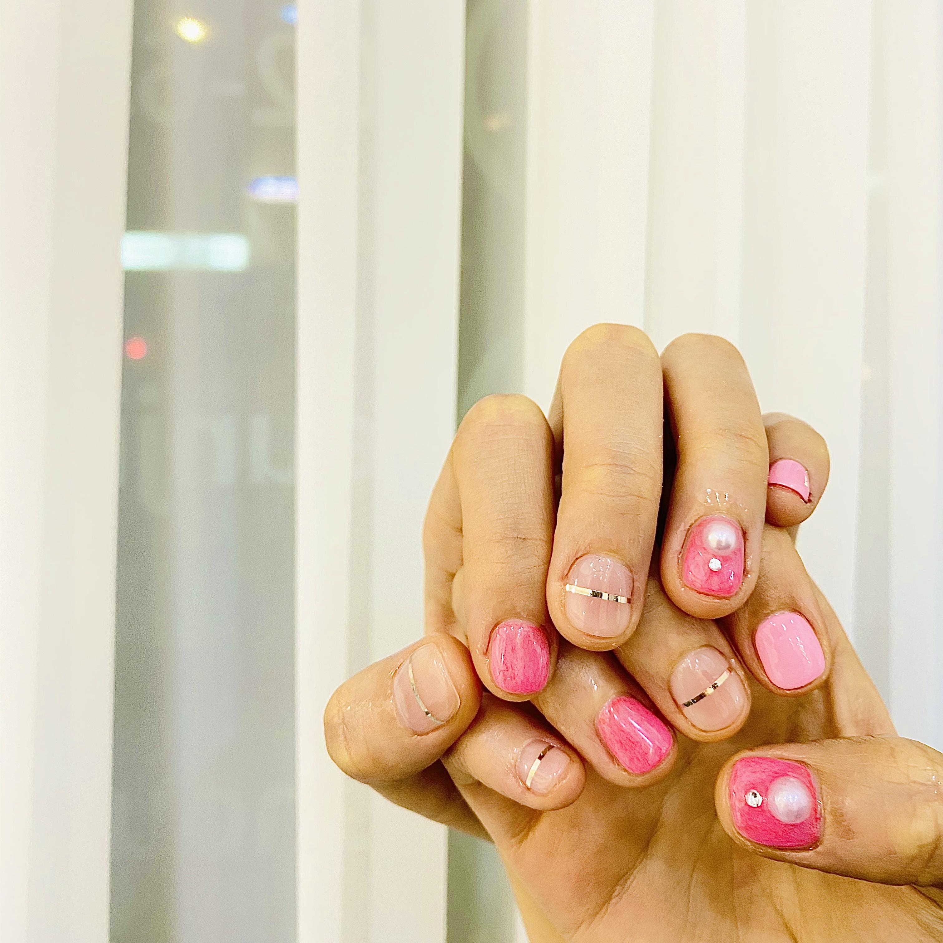 라운드,핑크,라인테이프,진주